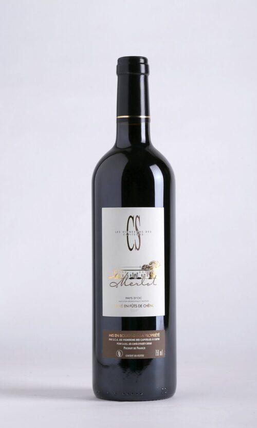 bouteille de vin Merlot cs IGP Pays d'Oc