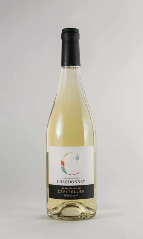 bouteille de vin chardonnay les Vignerons des Capitelles